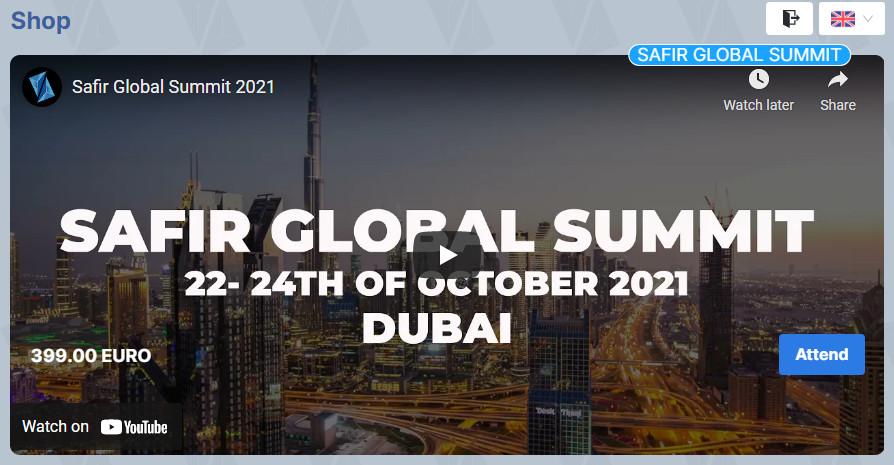 First Safir Global Summit 22-24 October 2021, Dubai